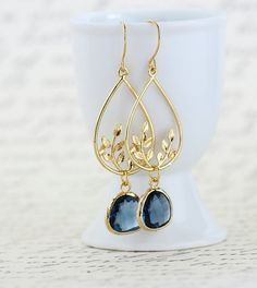 Gold and Indigo Blue Dangle Earrings Bridal by JacarandaDesigns