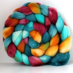 JOKES -  Handpainted - Hand Dyed  Merino Wool Roving 4oz. $16.00, via Etsy.