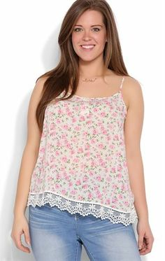 Deb Shops Plus Size Floral Print Tank with Crochet Hem $15.00