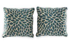 Dahlia 20x20 Pillows, Teal/Cream, Pair on OneKingsLane.com