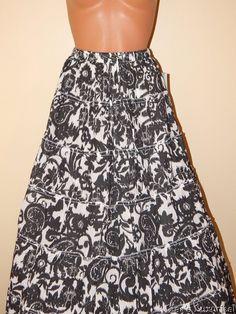 NWT Women's 6 Maxi Sweep Skirt S. Jane Ashley Floral Black & White #JaneAshley #MaxiPeasantBohoSweepSkirt