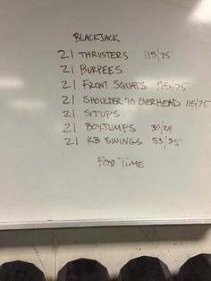 Crossfit Blackjack wod: thrusters, burpees, front squats, push press, sit ups, box jumps, kettlebell swings.