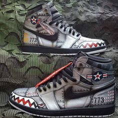 Oh my God these Nike air Jordan ones absolutely amazing you guys should definitely check them out market Custom Painted Shoes, Custom Shoes, Best Sneakers, Custom Sneakers, Zapatos Nike Jordan, Air Jordans, Custom Jordans, Exclusive Shoes, Hype Shoes