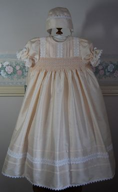 Exquisite Handmade, Hand smocked blush pink silk Christening gown,bonnet and matching petticoat. Size 4 months. Ready to ship