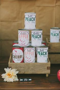 amorology wedding escort card guest names on food cans