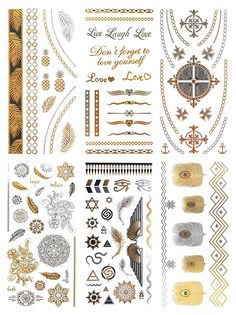 21c51241d COKOHAPPY Metallic Beach Tattoo , Mandala Rome Cross Feather Angel Wing in Gold  Silver , 6 Sheets Pack Bling Fake Temporary Tattoo => See this great image  : ...