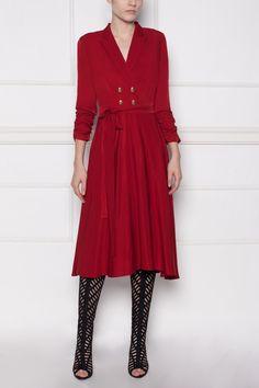 Rochie midi rosie cu cordon - NISSA