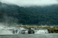 Fog at Kanawha Falls near Gauley Bridge, WV, Fayette County, New River Gorge Region