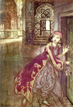 'She took then the little key, and opened the door, trembling.' Bluebeard illustration from The Arthur Rackham Fairy Book - A Book of Old Favourites with New Illustrations