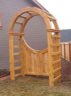 gate with arbor -- would be great with some flowering vines or roses growing ove. - gate with arbor — would be great with some flowering vines or roses growing over the arbor Source by llwest - Backyard Gates, Garden Gates And Fencing, Backyard Pergola, Backyard Landscaping, Garden Arbor With Gate, Pergola Ideas, Pergola Kits, Arbor Ideas, Pergola Roof