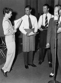 Katharine Hepburn, Cary Grant and Jimmy Stewart recording The Philadelphia Story for radio