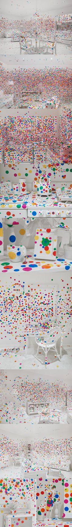 yayoi kusama - colorful dot-covered obliteration room to new york