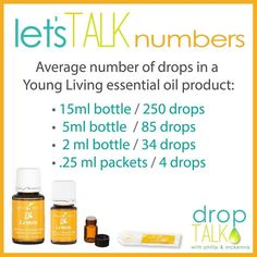 Young Living Essential Oils: Average number of drops in various EO product.