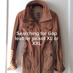 In Search Of Gap Leather Pocket Jacket XL or XXL I saw this leather Gap moto jacket on Poshmark, but not my size. I LOVE it. If you have or see this jacket listed on Poshmark in Extra Large or 2X, please tag me in a comment. Will maybe consider size Large too if I can get the measurements. Thank Posh friends! 💜 GAP Jackets & Coats