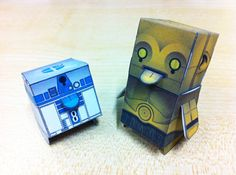 R2D2 and C3P0 paper toys - Designed by Harlancore. Download templates here: http://www.harlancore.com/boxpunx/special/pagethree/