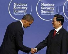 President Obama bowing to Hu Jintao, the current leader of the People's Republic of China.