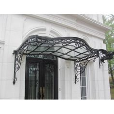 Incredible Victorian Style Hand Wrought Iron Canopy With Glass
