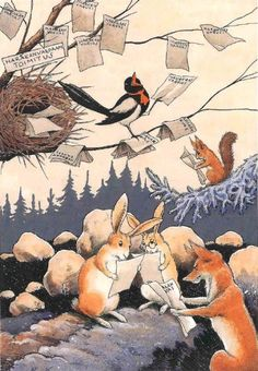 Illustration by Rudolf Koivu Art And Illustration, Book Illustrations, Fox And Rabbit, Japanese Drawings, Cute Cartoon Drawings, Fairytale Art, Beautiful Fairies, Forest Friends, Woodland Creatures
