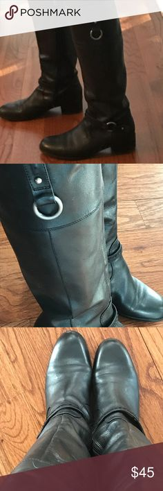 Bandolino Black leather riding boots size 7 Bandolino Black leather riding boots size 7. These boots are pre-owned but in good condition! Silver accents and ankle strap! Very classic style! Comfortable and classy!! Bandolino Shoes Heeled Boots