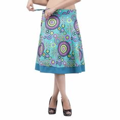 Women Rajasthani Turquoise Knee Length Multicolored Wrap Around IWUS Wrap Around Skirt, Turquoise, Skirts, Printed, Mini, Women, Handmade, Fashion, Moda