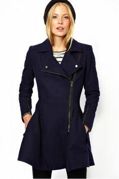 KCLOTH Slim Fit Navy Blue Zipper Lapel Long Sleeve Trench Coat