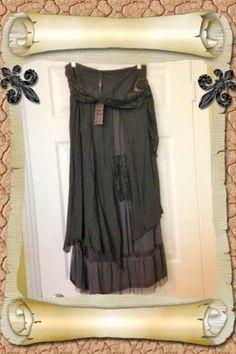 Boho Chic Lagenlook Pretty Angel Linen Blend Lace Layered Boho Skirt LARGE NWT #PrettyAngel #BohoMaxi
