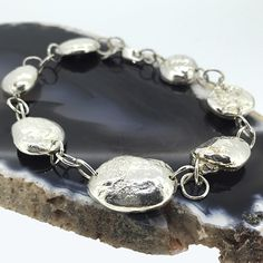 Unique Hand Made Sterling Silver Moon Rock Nugget Bracelet £180.00