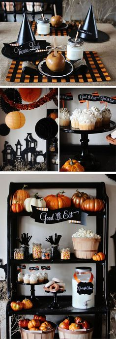 Halloween Party...really like the idea of using a flat cardboard cut out of a haunted house, much less work!  Just cut, paint/glitter and prop against a wall or on a mantle behind other items...