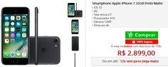 Smartphone Apple iPhone 7 32GB Preto Matte << R$ 289900 >>
