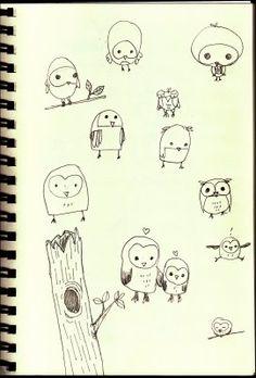 Sketchbook with cute owl doodles