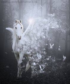To The Wind by FrostAlexis on DeviantArt Unicorn And Fairies, Unicorn Fantasy, Unicorns And Mermaids, Unicorn Art, Mystical Animals, Mythical Creatures Art, Magical Creatures, Fantasy Creatures, Painted Horses