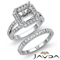 Diamond Engagement Ring Asscher Wedding Bridal Set 18K Gold White Semi Mount 2 3 | eBay