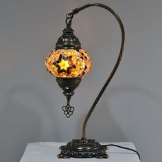Turkish swan neck mosaic lamp pinterest mosaic camel neck turkish table lamp medium brown starburst db2 brs mozeypictures Image collections