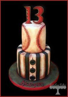 Rustic baseball cake