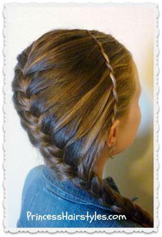 Diagonal french braid and waterfall twist princesshairstyles.com