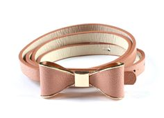 Fashion Women's Candy color PU leather Thin Belt  Skinny Waistband yd1-skin pink