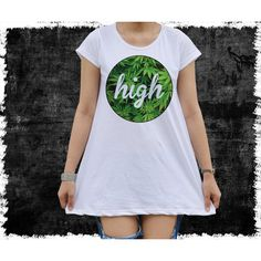 Dope Shirt Weed Smoking Kush Cannabis High Women's Mini Dress T Shirt... (€15) ❤ liked on Polyvore featuring grey, t-shirts, tops and women's clothing