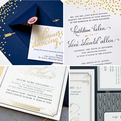 Metallic foil  and art deco inspired wedding invitations. Roundup from Oh So Beautiful Paper, via Snippet & Ink.