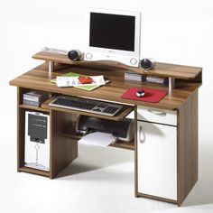 computer desk pc table home office furniture black white 11424 | e1f7406d0619f94aa6eda5c2a4cc2f8e desk with shelves drawer handles