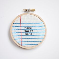 home sweet home cross stitch embroidery wall hanging home decor hoop - custom. $25.00, via Etsy.