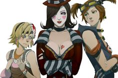 Art by doubleleaf Borderlands 2 (The three main crazy ladies of BL2. Gawd I would love to hang out with them if they were real and i wasn't afraid of being shot with weapons illegal by the geneva convention. )