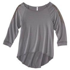 Xhilaration® Junior's Studded High Low Top - Gray