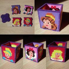 Boîte Disney princesses en perles à repasser Perler Beads Pixel Beads, 3d Perler Bead, Hama Beads Design, Diy Perler Beads, Hama Beads Patterns, Fuse Beads, Beading Patterns, Perler Bead Disney, Beaded Boxes