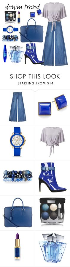 """""""Contrasti blu"""" by st-edmundcollege ❤ liked on Polyvore featuring Alice + Olivia, Trina Turk, Michele, Miss Selfridge, Lydell NYC, Off-White, Burberry, Chanel, L'Oréal Paris and Thierry Mugler"""
