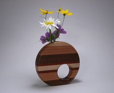 Beautiful uniquely shaped wooden vase
