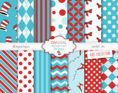 Dr Seuss Inspired Digital Paper Set-The Cat in the Hat- 14 Digital Papers with hats, kites, stripes- for invites, graphics, birthday parties