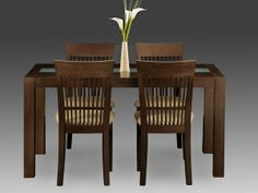 Julian Bowen Santiago Dining Table with 4 Wenge Finish Chairs