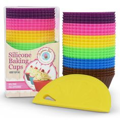 Love to Bake? A must have for every kitchen... Baketown Girls Silicone Baking Cups Non-Stick Cupcake Molds - Standard Size 24 Piece Set - Includes Silicone Scraper - NO BPA, FDA Approved, 100% Premium Food Grade Silicone