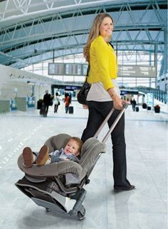 Getting through the airport with baby doesn't require another carseat/expense...Use a lightweight folding travel cart like lawyers use and bungie cords to use your regular car seat. You can use the car seat on the plane and when you get to your destination. Works like a charm. (See our other pin.)