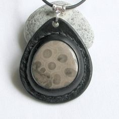 Petoskey Stone Necklace  An AoS Original Earth by aosLeather, $55.00